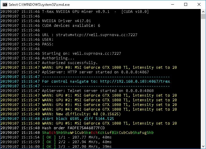 T-Rex 0.9.1 Nvidia Miner avec support X16RT (Veil) et SHA256Q (Pyrite)