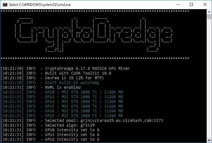CryptoDredge 0.17.0 Nvidia Miner avec nouveaux algorithmes pris en charge