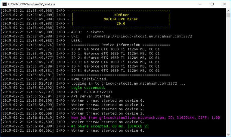 NBMiner 20.0 avec prise en charge du Cuckatoo31